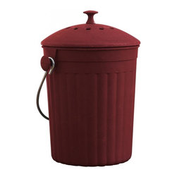 MOBOO® Compost Bin 1.0 Gallon, Cherry - Made of MOBOO® (molded bamboo). Use this sturdy, durable compost bin to hold food scraps from your kitchen until they®re transferred to an outdoor compost area. Charcoal filter absorbs odors for 6 months.