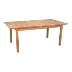 """Teak Arlington 74"""" Rectangular Dining Table - Rectangular Arlington Dining Table made by Jewels of Java takes simple and makes it elegant with the thin inlay teak on the table top.  88 Lbs."""