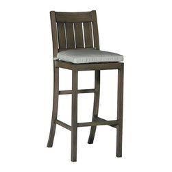 """Frontgate - Croquet Bar Height Outdoor Bar Stool with Cushion (30""""H seat) - French Linen, Mahogany or Weathered finishes offer the appearance of fine wood. Generously proportioned durable aluminum frame accommodate a plush outdoor cushion. Included Dream cushion's high density foam fill is crowned with a """"pillowtop"""" of blown fiber. Cushion features exclusive solution-dyed fabrics, created using only the finest materials and technology for longevity outdoors, including Sunbrella&reg. Slatted aluminum seat back. The Croquet Bar Height Bar Stool by Summer Classics&reg is the perfect embodiment of the lawn game made popular by 19th century European gentry. Frame is hand-welded in durable aluminum and finished to resemble fine wood. Luxurious Dream&#8642 cushion enhance the experience of relaxing in this generously proportioned, all-weather furniture.Part of the Croquet Collection by Summer Classics&reg.  . . . . Note: Due to the custom-made nature of the cushions, any fabric changes or cancellations made to the Croquet Collection must be made within 24 hours of ordering."""