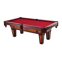 FatCat - 7Ft Reno Billiard Table with Play Pkg - Includes 2 x 57 in. Cues, 1 set of 2.25 in. billiard balls, plastic triangle, and chalk. Solid wood 6 in. rails with K-66 rubber bumpers. Burgundy wool cloth. White diamond inlays. Fringe drop pockets. 1 in. MDF Accuslate play surface. Beveled legs: 3/4 in. MDF Maple wood veneer with cherry/Maple finish. Playfield size: 78 in. x 39 in.. 90 days WarrantyChallenge your friends to a game of pool with this elegantly designed Reno billiard table. This table has a 1 in. MDF Accuslate play surface and K66 rubber bumpers allowing for better play. The legs are beveled to give it a unique look and it has a classy burgundy wool cloth that will look ideal in any home game room. Accessories include two 57 in. Cues, 1 set of billiard balls, two pieces of chalk, a triangle and a brush.