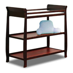 AFG Baby - AFG Baby Naomi Changing Table in Cherry - Constructed of solid pine wood, the simple sleigh changing table has open shelves for storing your baby needs, and a changing top with included pad and safety belt. Pair this with our Naomi 4-in-1 Crib to complete your nursery set.