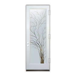 Sans Soucie Art Glass (door frame material Plastpro) - Glass Front Entry Door Sans Soucie Art Glass Wispy Tree - Sans Soucie Art Glass Front Door with Sandblast Etched Glass Design. Get the privacy you need without blocking light, thru beautiful works of etched glass art by Sans Soucie!  This glass is semi-private.  (Photo is view from outside the home or building.)  Door material will be unfinished, ready for paint or stain.  Bronze Sill, Sweep.  Satin Nickel Hinges. Available in other finishes, sizes, swing directions and door materials.  Dual Pane Tempered Safety Glass.  Cleaning is the same as regular clear glass. Use glass cleaner and a soft cloth.