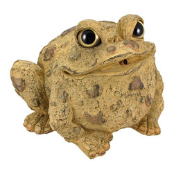 Toad Hollow Natural Frog Garden Pond Fountain Spitter - The Toads Of Toad Hollow are a collection of statues that add whimsy and imagination to your home or garden. This garden pond spitter toad is a great way to aerate your pond. All he needs is a pump and a piece of tubing to attach to the connector on the back. Made of cold cast resin, the toad measures 7 inches tall, 10 inches wide and 8 1/2 inches deep. He`s hand-painted, with a natural tan finish, and shows great detail. He makes a wonderful gift for any frog lover.