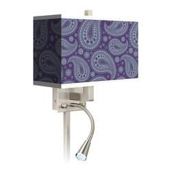 """Giclee Glow - Traditional Purple Paisley Linen Giclee LED Reading Light Plug-In Sconce - This giclee shade wall sconce has a clean crisp look and contemporary appeal. It features a giclee printed pattern on high-quality canvas. The angular frame comes in a lustrous brushed steel finish. Installation is easy: just plug it in to any standard wall outlet. It's perfect beside a bed or a reading chair thanks to the energy efficient gooseneck LED reading light. Reading light and main light are controlled separately. This item is custom made-to-order. Brushed nickel finish. Giclee shade. Plug-in style. Brushed nickel finish cord cover included. Takes one 60 watt bulb (not included). Gooseneck light with 12 LED array. 13 1/2"""" high 14"""" wide. Extends 6 1/4"""" from the wall. Gooseneck LED with 10 1/2"""" extension. Backplate is 5"""" wide 9"""" high 1 1/4"""" deep. Shade is 14"""" wide 5"""" deep and 8 1/2"""" high. U.S. Patent # 7347593.  Brushed nickel finish.   Exclusive Purple Paisley Linen pattern giclee-printed shade.  Plug-in style.   Brushed nickel finish cord cover included.  Takes one 60 watt bulb (not included).   Gooseneck light with 12 LED array.   13 1/2"""" high 14"""" wide.   Extends 6 1/4"""" from the wall.   Gooseneck LED with 10 1/2"""" extension.   Backplate is 5"""" wide 9"""" high 1 1/4"""" deep.   Shade is 14"""" wide 5"""" deep and 8 1/2"""" high."""