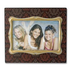 Lawrence Frames - 4x6 Brown Wood Picture Frame with Damask Pattern and Gold Inner Frame - Fabulous  4x6 decorative walnut brown  picture frame with gold leaf inner frame.  Brown frame is enhanced with an elegant damask silk screened pattern.  High quality black wood backing with easel for table top display.  Individually boxed.