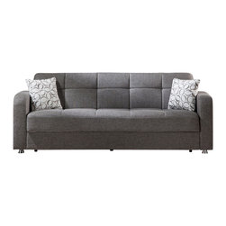 Istikbal - Vision Diego Gray Sofa Sleeper - The irresistible Vision Diego Gray Sofa Sleeper is made to enjoy the practical functions. The soft and relaxing, the Vision Collection is ready to create a warm and inviting feeling in your living room. Eye-catching stitching accentuates a tufted appearance. Minimal assembly required to secure pieces together.