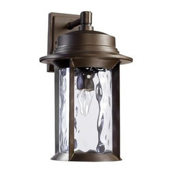 """Quorum International - Quorum International 7246-9 1 Light 9.5"""" Down Lighting Outdoor Wall Sconce from - Transitional 1 Light 9.5"""" Down Lighting Outdoor Wall Sconce from the Charter CollectionLooking to add some light to the outdoor areas of your home? Take a look at this durable 9.5"""" outdoor wall sconce from the Charter collection. Featuring a modern styled roof holding up a dashing clear hammered glass diffuser, this fixture will add style and light to make your outdoor spaces more functional. UL listed for wet locations, this fixture is also rugged and will stand up to the elements.Features:"""