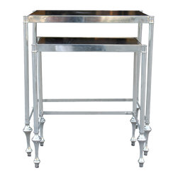 Mortise & Tenon - Black Marble Nesting Table - Modern Metal and Glass Nesting Tables