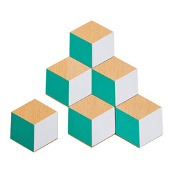 Areaware - Set of 6 3D Table Tiles, Green + Grey - This set of six coasters can be artfully arranged to form a tiled trivet. The illusion of 3D through color and geometry allows for endless permutations, encouraging playful mosaic building on your table. Ideal as a housewarming gift for those with discerning taste or as decoration for your own intimate gatherings.