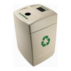 """Commercial Zone - 55 Gallon Recycling Waste Container with Lid Options - Environmentally friendly recycling center; molded from 25% post-consumer recycled materials. Features: -Beige color. -Telescopic lid with two openings and 55 gal capacity. -Patented Grab Bag System holds bad in place on liner. -Weather resistant and durable material with UV inhibitors to limit fading in sunlight. -Product clearly labeled as recycling container to show your concern for environment. -Slots for Aluminum and Plastic. -Includes two 27.5 gallon removable liners. -Includes 1 year warranty. -Overall Dimensions: 40.75"""" H x 26"""" W x 25"""" D."""