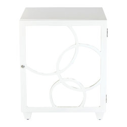 Worlds Away - Worlds Away - Leah Nightstand - Leah, White - Worlds Away - Leah Right Opening Mirrored Nightstand In White Lacquer - LEAH NWHR