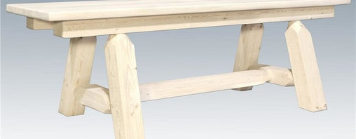 Montana Woodworks - Hand Crafted Bench - Plank style. Heirloom quality. Edge glued panels. Solid lodge pole legs. Cross support. Timbers and trim pieces are sawn square. Rustic timber frame design. Made from American grown wood. Made in USA. No assembly required. 72 in. L x 12 in. W x 18 in. H (50 lbs.). Warranty. Ready to Finish. Use and Care InstructionsSimilar to Montana woodworks half log bench but without all the weight, this six foot long plank style bench is handcrafted from solid, American grown wood. The lodge pole pine rails gives this bench that extra touch of rustic appeal and charm.