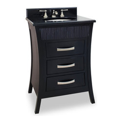 "Hardware Resources - Elements Bathroom Vanity - This 26"" wide solid wood vanity has modern feel with a sleek black finish and an Asian inspired design featuring reed detail with matching hardware. The narrow design fits comfortably in most powder rooms with ample storage with three fully functional drawers; two fitted around the plumbing and the bottom a full drawer, equipped with undermount slides. This vanity has a 2.5CM black granite top preassembled with an H8809WH (15"" x 12"") bowl, cut for 8"" faucet spread, and corresponding 2CM x 4"" tall backsplash Overall Measurements: 26"" x 20-3/4"" x 36"" (measurements taken from the widest point) - Faucet must be purchased separately"