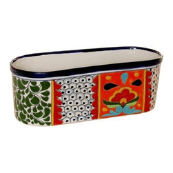 Mexican Talavera - Mexican Talavera Oval Window Box - Mexican Talavera Oval Window Box