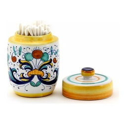 Artistica - Hand Made in Italy - Ricco Deruta: Cotton Swab Holder with Lid - Ricco Deruta: Artistica's Ricco Deruta is the true original version of the most celebrated Deruta's design, which traces its origins to the sixteenth century.