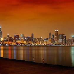 "WindyCityCanvas - Chicago Skyline City View Gallery Wraped Canvas Print 20""x40"" by WindyCityCanvas - High quality 0.56 mm thick 400 gsm cotton canvas."