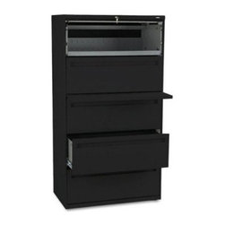 HON 700 Series 36 Inch Four Drawer Lateral File and One Roll Out Shelf - The HON 700 Series 36-Inch Four-Drawer Lateral File Plus One Roll-Out Shelf provides the convenience and security you need for your important office files. This tall, wide file cabinet has one shelf that rolls out for easy access and is concealed by a roll-up front. Four generously sized file drawers hold letter or legal folders.A lock at the top of the cabinet keeps your files secure, and the lock controls all openings. The mechanical interlock feature allows only one shelf or drawer to open at a time to prevent the file cabinet from tipping. Designed for intense daily use, this file cabinet has a three-part telescoping slide suspension, and leveling glides are adjustable for uneven floors. It is available in your choice of putty, black, light gray, or light charcoal finish. Delivered fully assembled. Dimensions: 36W x 19.25D x 67H inches.About the HON CompanyHeadquartered in Muscatine, Iowa, the HON Company is established as a leader in the office furniture industry. The HON Company designs and manufactures products including chairs, files, panel systems, tables, and desks. With several national manufacturing facilities, the company provides products through a system of dealers and retailers throughout the United States.As the landscape of today's office and classroom continues to change with new technologies, the HON Company has created office furniture, teacher stations, and student desks that anticipate and adapt to the newest waves of high-tech products. Additionally, in an effort to think and act green, the HON Company uses less packing material, reduces their amount of fabric waste, and uses recycled wood from other furniture.