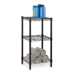 """Honey Can Do - 3-Tier Steel Wire Shelving Tower in Black - Create visible, accessible storage space instantly with Honey-Can-Do industrial shelving systems. Sleek black finish and 30"""" steel frame make this unit the perfect blend of style and functionality. Durable enough for the mudroom or garage this shelving is capable of withstanding up to 200lbs per shelf. Adjustable shelves and stackable components allow you to change the configuration as your storage needs evolve. Combine multiple units to create a customized storage wall. The no-tool assembly allows you to construct in minutes a shelving unit that will last for years."""