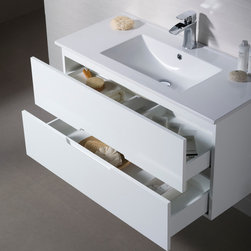 Modern Bathroom Vanities - With contemporary and clean lines the Elton vanity collection is the perfect combination of beautiful designer style and great practicality. It features an abundance of soft close drawers for easy and convenient access of the everyday toiletries. The Elton modern bathroom vanity elegantly floats off the floor to provide openness in tight spaces.