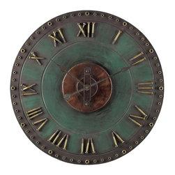 Joshua Marshal - Metal Roman Numeral Outdoor Wall Clock. - Metal Roman Numeral Outdoor Wall Clock.