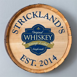 Personalized Wine Barrel Home Decor Signs - Single Malt - 20 diam.in. - Grace your dining setting with the charming Wine Barrel Home Decor Signs - Single Malt. Constructed from an authentic wine barrel, this sign features an elegant blue whiskey print and comes personalized in your choice of 20 characters and a year.About JDS MarketingLike many great start-ups, JDS Marketing started in a garage. It was 1992 when brothers Steve and Jeff Deters came up with their concept of developing a unique line of personalized wedding party gifts. JDS Marketing is based in Minnesota and delivers unique gifts that have been personalized by sublimation, diamond engraving, laser etching, digital printing, embroidery, and screen printing. JDS currently supplies personalized gifts to over 2,000 retail accounts, shipping several hundred gift orders each day.