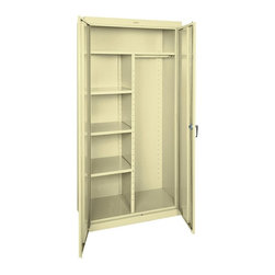 Edsal - Edsal Heavy Gauge Steel Combination Cabinet - CAC1362472-07 - Shop for File and Storage Cabinets from Hayneedle.com! The Edsal Heavy Gauge Steel Combination Cabinet is a versatile storage unit designed for typical storage use as well as hanging up garments. Solid steel construction is coated in a smooth putty finish that protects from corrosion on the outside. On the inside there's an expansive top shelf three adjustable side shelves and a garment rod that makes hanging your clothes convenient. Overall this cabinet has a 750 lb. weight capacity and measures a full 36W x 24D x 72H inches.About Edsal ManufacturingFor over 30 years Edsal has been dedicated to providing companies with only the best storage systems and industrial furniture. Today products marketed under the Edsal brand name have earned a substantial share of the market in every region of the country. The Chicago-based company offers an extensive product line including five grades of industrial shelving as well as pallet and bulk storage racks for heavier applications. It also manufactures a complete selection of the most popular industrial furniture items including storage cabinets lockers service carts workbenches and stools.
