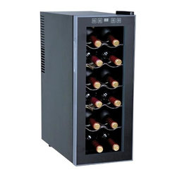 SPT Appliance - 12-Bottle Wine and Beverage Cooler - Ideal for chilling both red and white wines, this slim-line wine and beverage cooler fits whether larger models can't.  Compact design neatly stores six rows of standard size bottles on handy pull-out shelves.  Bottles store horizontally keeping corks moist, and precise temperature control will keep vintages fresh for years.  Your wine will be chilled and ready to serve any time with this good-looking free-standing cooler. 12 standard bottles / 35L capacity. Slim design fits in more places. Touch sensitive control panel with LED temperature display. No vibration (bottle sediment is not disturbed). Double pane glass door. Adjustable thermostat. Soft interior lighting with switch. Black cabinet with platinum trim. Freestanding design. 5 slide out chrome shelves. Adjustable level legs. Recessed handle. Low power consumption. Cooling temperature: 52 - 65�F. ETLRecommended temperatures for chilling wine:. Requires 5in. of space on all sides for optimum ventilation. Full Red (59 - 65�F). Light Red (54 - 57�F). White & Rose (46 - 57�F). Sparkling Wine & Champagne (41 - 47�F). As this unit cannot cool below 52�F, may not be suitable for sparkling wine & champagne. Input voltage: 110-120V / 60Hz. Capacity: 12 bottles / 35 liters. Input power: 70W. Power consumption: 1.0kWH/24hrs (59�F). Color: Black with platinum trim. Temperature range: 52 ~ 65�F. Operating temperature: 52 ~ 89�F. Maximum temperature variance: 25�F between ambient and unit. 10.25 in. W x 19.5 in. D x 25.6 in. H (27.5 lbs.)This slim wine cooler is the perfect solution for those wine lovers with a limited space. Fits up to 12 standard bottles and only 10.25 inch wide. Tinted double-pane glass door, recessed handle and black cabinet with platinum trim reflects a sleek and chic design. Touch sensitive control panel with LED temperature display on door. ThermoElectric Technology (no compressor) offers a quiet operation with no vibration. Adjustable temperature between 52 to 65�F.