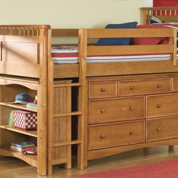 Bolton - Bolton Bennington Twin Low Loft Storage Bed with Wakefield 7-Drawer Dresser and - The Bennington bed features a flat panel with spindles in a classic bed style; Wakefield collection has beadboard sides and classic framing on the drawer fronts.