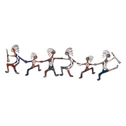 "Lazart - Happy Kokopelli Dancers Southwest Metal Art Over Door Hanger - Happy Kokopelli Dancers Southwest Metal Art Over Door Hanger. A happy band of kokopelli adorn this southwest styled metal art over door hanger. Each dancer has the mark of different Native American emblems and seems to be joyfully dancing his way along. A subtle fusion finish adds a mystifying blend of color with rich, tones and deep sheen. Each detail is laser cut for maximum design integrity. Measuring 30""W, this southwest metal art over door hanger adds a happy note to any room."