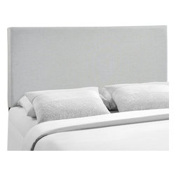 LexMod - Region Queen Upholstered Headboard in Gray - Enhance your bed of choice with a spaciously designed modern headboard. Region captures the expansive moments of restful nights with an elegance that doesn't detract from the simplicity of the design. Made of particleboard with solid wood poles and fine linen upholstery, rejoice with a contemporary design that admirably compliments your contemporary decor.