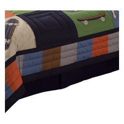 Pem America - Cool Skate Bed Skirt, Blue: Orange, Green, Brown, Queen - Carve up the sidewalk with you skateboard with this fun boys bed skirt.  This fun, extreme sports bedding has bright orange green and deep navy blues to match a variety of rooms.  This quilted pattern is hand pieced with applique and embroidered highlights.