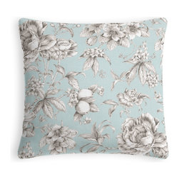 Light Blue Floral Toile Custom Pillow - Every decorator knows: it's the details that make a room.  That's why we love the Microcord Throw Pillow with a thin piped edge that adds just a hint of color.  We love it in this beautiful sky blue & gray toile floral cotton sateen. modern or traditional? you be the judge.