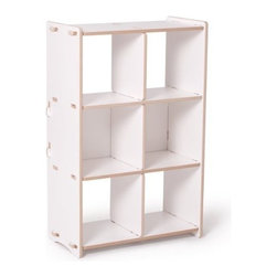 Sprout - 6 Cubby Shelf, White - Sprout Cubby Storage is great for storing everything from books to clothes to toys. Internal dividers can be configured to fit your needs. It's easy to assemble and requires no tools or hardware. The Sprout Cubby Storage works great as a bookcase or storage shelves in the nursery, play room, or preschool. Use Sprout Recycled Cardboard Storage Bins with your cubby for more organization options.