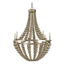 Currey and Company - Silvermore Chandelier - The Silvermore Chandelier, a classic empire shape, is modernized by Contemporary Silver Leaf hand-finishing on the frame, beading, candle sleeves and cups. It's monochromatic finish makes it as versatile as it is sleek.