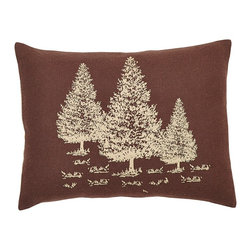 "VHC Brands - Declan Stenciled Burlap Pillow - This burlap fabric pillow measures 14""x18"" and is 100% cotton woven chocolate brown burlap with stenciled trees on the front. The back features a 3"" overlap with 2-ties to conceal pillow insert. Spot clean with a damp cloth."