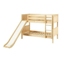 Smile Twin over Twin Panel Bunk Bed - With classic bunk styling and a smooth slide the Smile Twin over Twin Panel Bunk Bed appeals to kids' playful natures. And with complete safety features and a bevy of storage options this bunk speaks to parents' practical natures too. Crafted with durable solid birch this twin-size bunk bed boasts solid panel headboards and footboards sturdy square posts an angled slide and an attached straight ladder with deep grooved steps for safer climbing. Along the top bunk an 11-inch guard rail prevents nighttime falls. Keep the bunk stacked in small rooms or easily break it down into two roomy beds for multiple kids. Add extra sleep space with an optional under-bed trundle or bolster bedroom storage with optional storage drawers built with a self-closing design strong dovetail joinery and smooth ball-bearing glides. Choose the bunk only the bunk and trundle or the bunk and storage drawers in a deep chestnut brown light natural or fresh white finish. We take your family's safety seriously. That's why all of our bunk beds come with a bunkie board slat pack or metal grid support system. These provide complete mattress support and secure the mattress within the bunk bed frame. Please note: Bunk beds and loft beds are only to be used by children 6 years of age or older.
