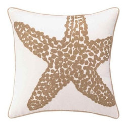 Peking Handicraft - Beach Large Starfish Embroidered Pillows - Beautifully done neutral pillows for the beach! Embroidered khaki-tan large starfish on a 18 x 18 coastal 100% soft cotton canvas sealife pillow, with rope-like edge trim. Down filled, zippered enclosure.