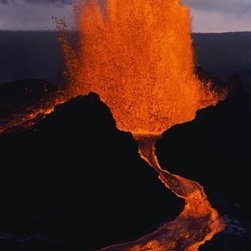 Wallmonkeys Wall Decals - Puu Oo Crater Erupting Wall Mural - 72 Inches H - Easy to apply - simply peel and stick!