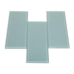 Loft Blue Gray Polished Glass Tiles