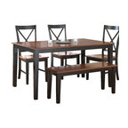 Steve Silver Furniture - Steve Silver Kingston Dining Table in Oak & Black - Dining Table in Oak & Black belongs to Kingston Collection by Steve Silver Casual comfort is what the Kingston dining table is all about. The rectangle table features a two tone finish of a medium oak top with contrasting black legs and apron.  Dining Table (1)