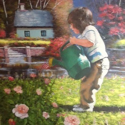 Spring Morning (Original) by Regan William - This was my grand daughter at five years old in our yard watering flowers, the background was added from a different setting to make it more interesting.