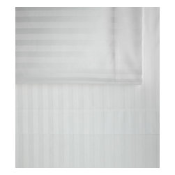 Peacock Alley - Duet Fitted Sheet, White, Queen - A striped damask weave in a soft neutral shade makes a simply elegant statement for your traditional bedroom. But it's the comfort of 400 thread count,100 percent Egyptian cotton that is sure to usher you toward sublime slumber.