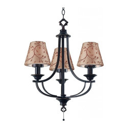 Kenroy Home - Kenroy Home Belmont Outdoor Chandelier Oil Rubbed Bronze Finish - 31367ORB - Oil-rubbed bronze and a two-candle shape suggest colonial, while a Leaf-Print or Taupe shade reads casual. The combination is elegant. For Outdoor Use. Two Shade Fabrics Included with Each Lamp for Two Distinctive Looks. UL Rated for Wet Location.