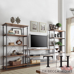 Tribecca Home - Tribecca Home Myra Vintage Industrial Modern Rustic 3-piece TV Stand/ 40-inch Bo - The Myra 3-piece TV stand set with 40-inch bookcases have a weathered and timeworn patina that allows traces of the original color and natural wood to show through. The shelf provides additional storage compartment for book and magazine storage.
