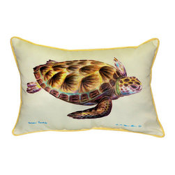 Betsy Drake - Betsy Drake Green Sea Turtle Pillow- Indoor/Outdoor - Green Sea Turtle Pillow- Large indoor/outdoor pillow. These versatile pillows are equal at enhancing your homes seaside decor and adding coastal charm to an outdoor setting arrangment. They feature printed outdoor, fade resistant fabric for years of wear and enjoyment. Solid back, polyfill. Proudly made in the USA.