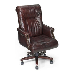 Hooker Furniture - Executive Upholstered Arm Chair - Swivel and tilt. Upholstered seat and back. Five casters. Nailhead trim. Claw metal base. Made from leather and wood. Leather in Santana Castagna burgundy brown color. Caster: 2.25 in. Dia. x 2.5 in. H. Adjustable seat height: 18.75 - 21.75 in.. Seat to back height: 26.5 in.. Arm height: 26.75 - 29.75 in.. Inside: 18.5 in. W x 19 in. D. Overall: 28.5 in. W x 27.75 in. D x 47.75 in. H. Assembly Instructions