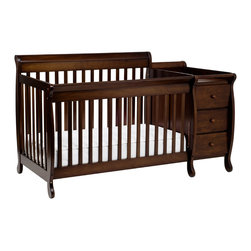 DaVinci - DaVinci Kalani Crib and Changing Table Combo with Toddler Rail - A perfect example of DaVinci's craftsmanship,the Kalani Crib and changing table combo is an innovative design idea that helps conserve space in a stylish way. The crib is a standard size,and the attached changer has ample storage for the necessities.