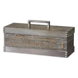 Uttermost - Lican Natural Wood Decorative Box - Natural Wood Box With A Light Chestnut Stain And Antiqued Silver Accents. Removable Lid.