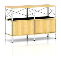 Herman Miller - Herman Miller Eames Storage Unit, 2 x 2 with Doors - Eames Storage Units are designed for both storage and display by Ray and Charles Eames. These storage units are composed of cases and cabinets and drawers that can be arranged in a number of sizes. The units are strong and durable. Upright and cross-supports provide strength as do the zinc-coated perforated panels. The cabinet fronts are dimpled plywood and the drawer fronts and shelves are molded plywood. The case and back panels are painted hardboard. To prevent marking the feet of the units have nylon glides. The Eames Storage Units merge function and beauty like any Herman Miller-Eames collaboration.