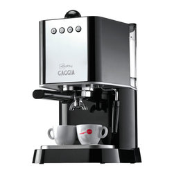 Gaggia - Gaggia Baby Black - This countertop espresso maker gives you café style and quality, with a commercial-style chrome-plated marine brass portafilter, an aluminum boiler with dual heating elements for superior brewing and steaming, and a three-way solenoid valve, all housed in a sleek, stainless steel package. With the hiss of the steam wand and the smell of rich espresso, you'll be enjoying a cup of indulgence on the patio.